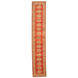Herat Oriental Afghan Hand-knotted Tribal Kazak Red/ Ivory Wool Runner (2'4 x 12'8)