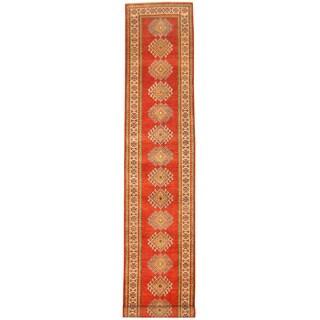 Herat Oriental Afghan Hand-knotted Tribal Kazak Wool Runner (2'4 x 12'9)