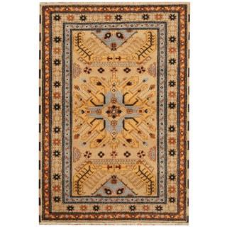Herat Oriental Indo Hand-knotted Tribal Kazak Gold/ Beige Wool Rug (4' x 6')