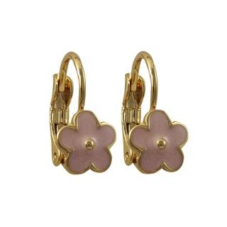 Luxiro Gold Finish Children's Enamel Flower Leverback Earrings