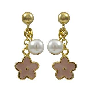 Luxiro Gold Finish Children's Faux Pearl Enamel Flower Dangle Earrings