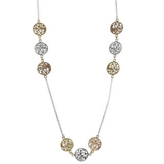 Luxiro Tri-color Gold Finish Filigree Circle Medallion Necklace - Silver