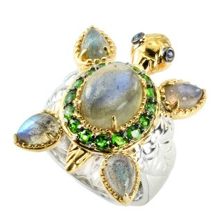 One-of-a-kind Michael Valitutti Blue Labradorite & Chrome Diopside Turtle Ring