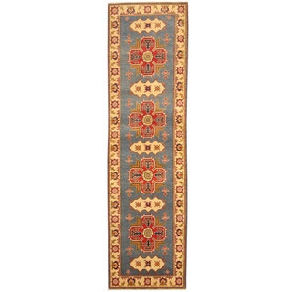 Herat Oriental Afghan Hand-knotted Tribal Kazak Blue/ Ivory Wool Runner (2'9 x 9'10)