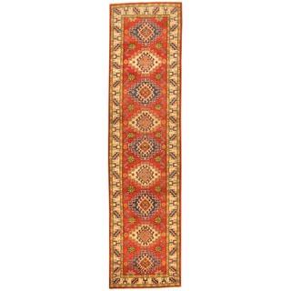 Herat Oriental Afghan Hand-knotted Tribal Kazak Wool Runner (2'7 x 10'2)