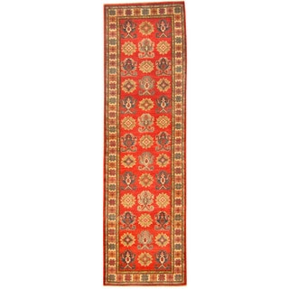 Herat Oriental Afghan Hand-knotted Tribal Kazak Wool Runner (2'10 x 9'9)