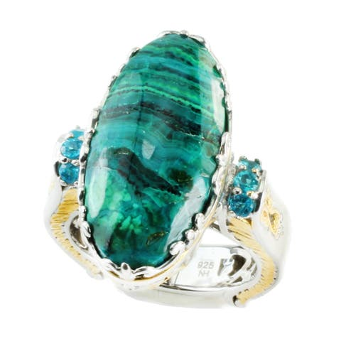 One-of-a-kind Michael Valitutti 22x11 Chrysocolla & Neon Apatite Ring