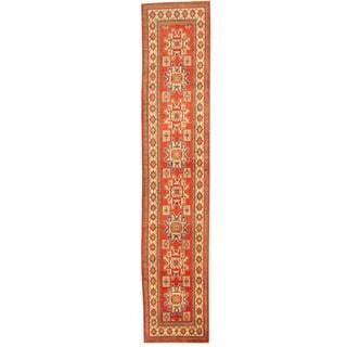 Herat Oriental Afghan Hand-knotted Tribal Kazak Wool Runner (2'5 x 12'8)