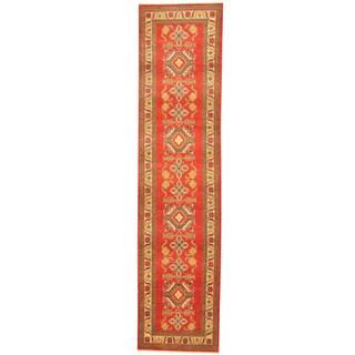 Herat Oriental Afghan Hand-knotted Tribal Kazak Wool Runner (2'7 x 11')