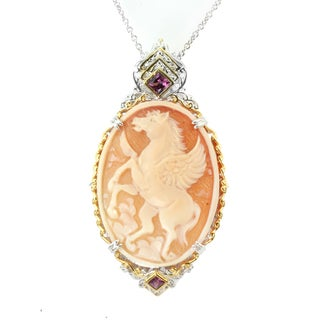 One-of-a-kind Micheal Valitutti Silver Carved Horse Cameo Pendant w/ Rhodolite