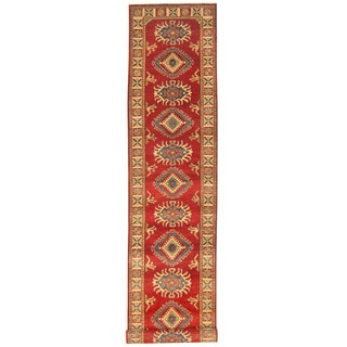 Herat Oriental Afghan Hand-knotted Tribal Kazak Red/ Ivory Wool Runner (2'8 x 13'6)