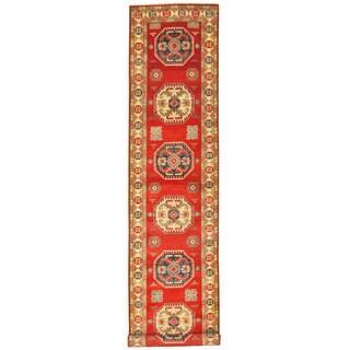 Herat Oriental Afghan Hand-knotted Tribal Kazak Wool Runner (2'9 x 12'10)
