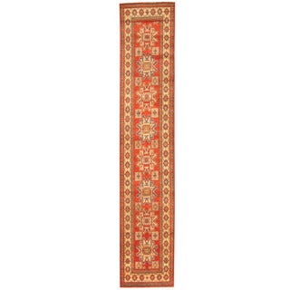 Herat Oriental Afghan Hand-knotted Tribal Kazak Wool Runner (2'5 x 12'9)