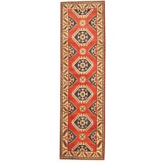 Herat Oriental Afghan Hand-knotted Tribal Kazak Red/ Ivory Wool Runner (2'10 x 10'2)