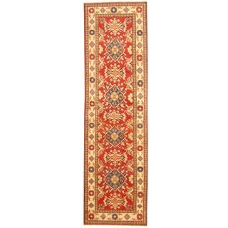 Herat Oriental Afghan Hand-knotted Tribal Kazak Red/ Ivory Wool Runner (2'8 x 9'6)