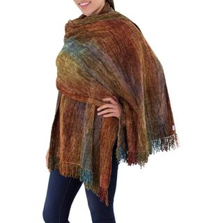 Handcrafted Rayon from Bamboo Chenille 'Tropical Volcano' Shawl (Guatemala)
