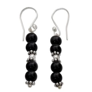 Sterling Silver 'Pillars of Night' Onyx Earrings (India)