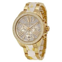 Michael Kors Women's MK6157 'Wren' Chronograph Crystal Gold-Tone Stainless Steel Watch