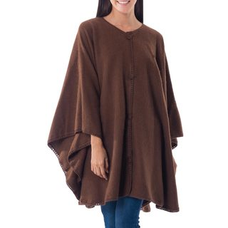 Lima Glam Everyday Easy Care Warm and Soft Alpaca Blend with Button Front and Hand Crocheted Edges Brown Womens Cape (Peru)
