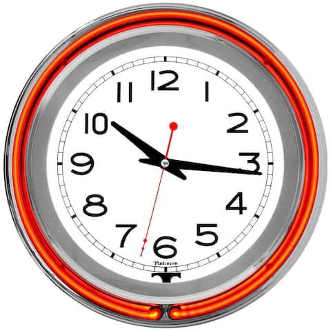 14 Inch Double Ring Neon Clock Orange Outer White Inner
