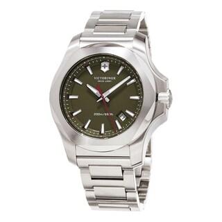 Swiss Army Men's 'Inox' Green Dial Stainless Steel Bracelet Swiss Quartz Watch - Hunter