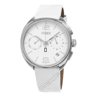 Fendi Men's F212014041 'Momento' White Dial White Leather Strap Chronograph Swiss Quartz Watch