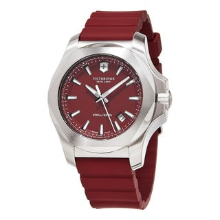 Swiss Army Men's 241719.1 'Inox' Red Dial Red Rubber Strap Swiss Quartz Watch