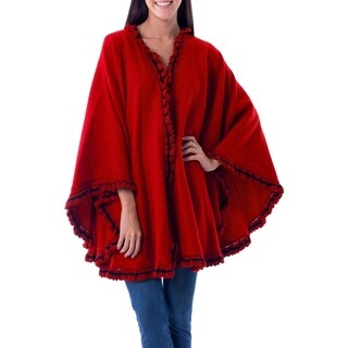 Andean Snow Princess in Red Alpaca Blend with Black Trim Hand Crocheted Ruffle Border Open Front Womens Circular Cape (Peru)