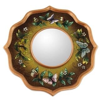 Handmade Painted Glass 'Mocha Butterfly Sky' Mirror (Peru) - Green/Brown