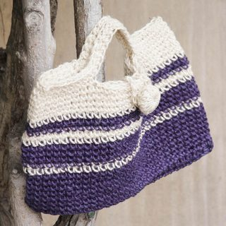 Handcrafted Jute 'Sweet Purple' Handbag (Peru)
