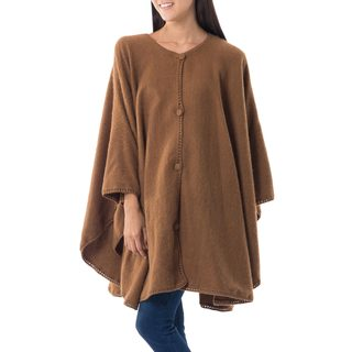 Handcrafted Alpaca Blend 'Earth Chic' Ruana Cape (Peru)