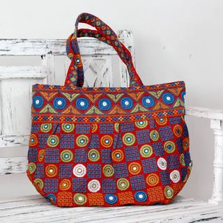 Handmade Cotton 'Gujarati Fanfare' Embroidered Shoulder Bag (India)
