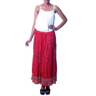 Handmade Cotton 'Royal Red Jaipur' Skirt (India)