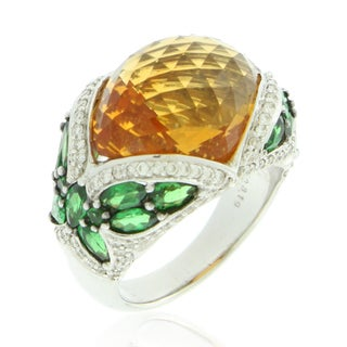 Suzy Levian 18K White Gold Tsavorite and Citrine Cocktail Ring