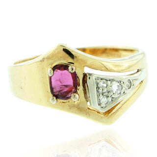 Suzy Levian Vintage 14K Gold Diamond and Ruby Ring