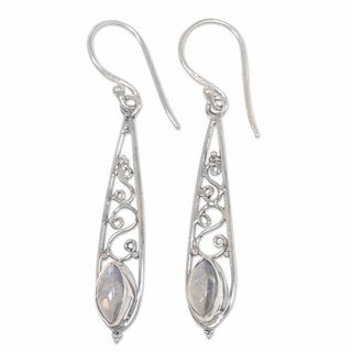 Sterling Silver 'Jasmine Dew' Rainbow Moonstone Earrings (Indonesia)