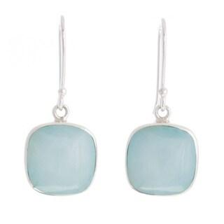 Handmade Sterling Silver 'Window' Opal Earrings (Peru)
