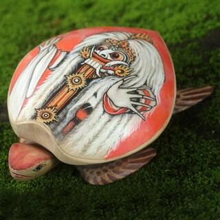 Handmade Crocodile Wood 'Rangda Turtle' Jewelry Box (Indonesia)