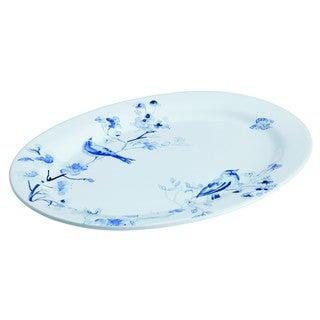 Paula Deen(r) Dinnerware Indigo Blossom 10-Inch x 14-Inch Stoneware Oval Serving Platter, Print