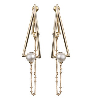 Gold Overlay Cultured White Pearl Accented Triangle Cut-out Earrings (7-8mm)