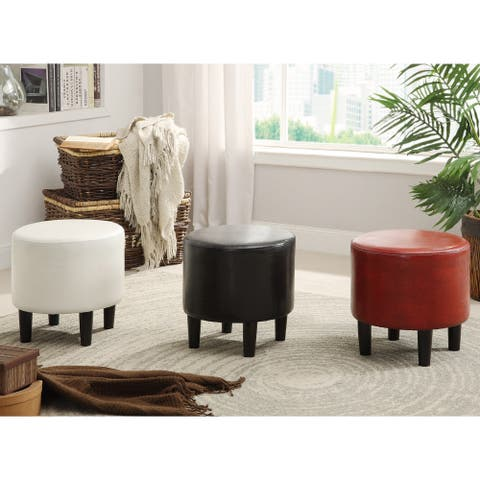 Furniture of America Ozzo Modern Faux Leather Upholstered Round Ottoman