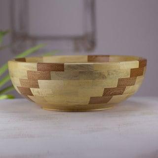 Handcrafted Wood 'Natural Spiral' Bowl (Guatemala)