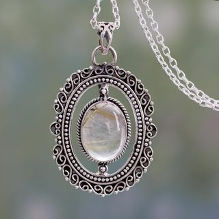 Handmade Sterling Silver 'Venus Hair' Rutile Quartz Necklace (India)