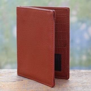 Handmade Leather 'Globetrotter in Sienna' Passport Wallet (India)