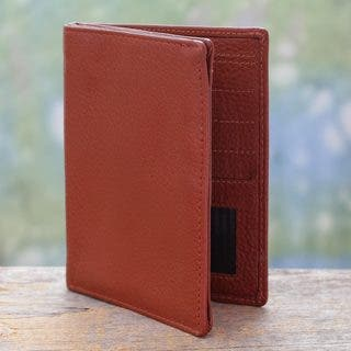 Handmade Leather 'Globetrotter in Sienna' Passport Wallet (India) https://ak1.ostkcdn.com/images/products/10873328/P17910695.jpg?impolicy=medium