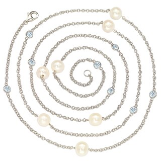 Suzy Levian Sterling Silver Created White Sapphires and White Freshwater Pearl Station Necklace
