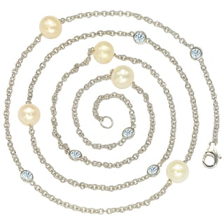 Suzy Levian Sterling Silver Freshwater Pearl and White Sapphire Station Necklace