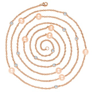 Suzy Levian Rosed Sterling Silver Pink Freshwater Pearl and White Sapphire Station Necklace