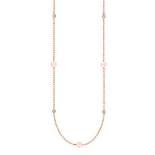Suzy Levian Rosed Sterling Silver Pink Freshwater Pearl and White Sapphire 26-inch Station Necklace (7 - 8 mm)