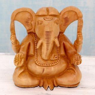 Handcrafted Kadam Wood 'Auspicious Deity' Sculpture (India)